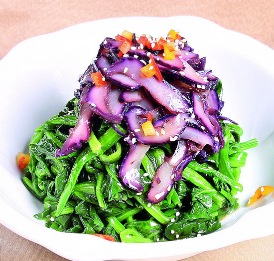 海灵芝凉拌菠菜的做法